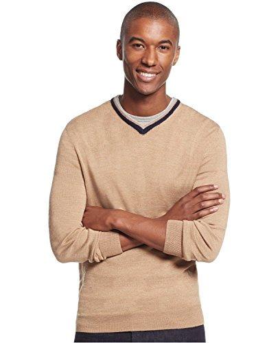 Club Room Mens Wool Blend Contrast Ttrim Pullover Sweater Tan L