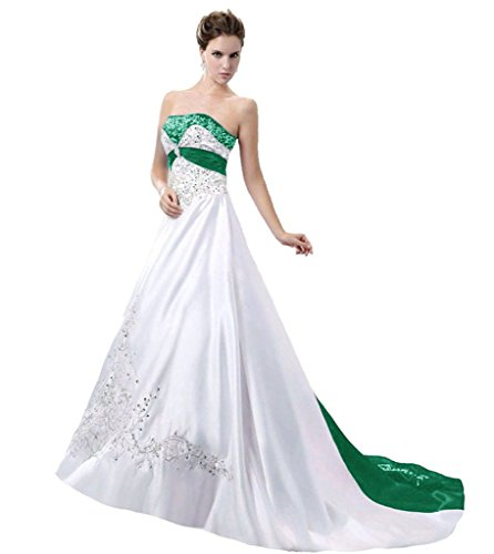 APXPF Women's Satin Embroidery Wedding Dress with Cathedral Train White and Dark Green US8 (Soft Satin Train)