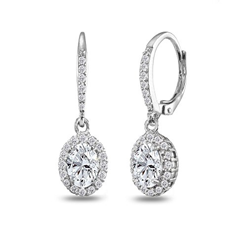 Sterling Silver Created White Sapphire Oval Dangle Halo Leverback Earrings with White Topaz Accents ()