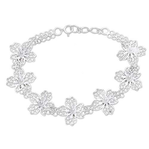 """NOVICA .925 Sterling Silver Link Bracelet, 7"""", Javanese Orchid"""