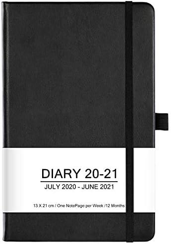 Terminkalender 2020-2021 - 12 Monate Woche zum Anzeigen des Planer von Juli 2020 bis Juni 2021, mit Stifthalter, Innentasche, Gummiband, Markierungsband, Bonus Aufklebern, Schwarz, 13 X 21 cm