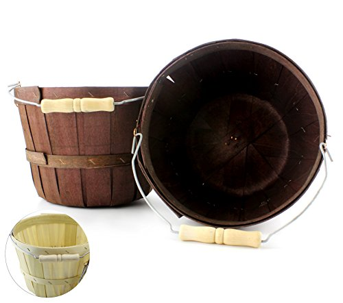 Dark Brown Half Peck Wooden Baskets (2-Pack); Thanksgiving or Halloween Treat Bucket or Wood Fruit & Vegetable Picking Basket with Wire Bail/Wood Handle; Also Great for Arts & Crafts