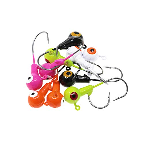 Temorah Fishing Lures Jig Heads,Ball Heads 1/32oz-1/2oz,Sharp Fishing Hooks for Freshwater or Saltwater (Assorted, 1/2OZ 25PCS)