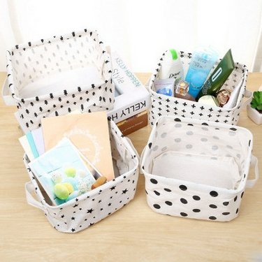 Storage Basket Bins, Home Decor Organizers Bag for Adult Makeup, Baby Toys Liners, Books (4 Pack, White & Black) (4pk Books)