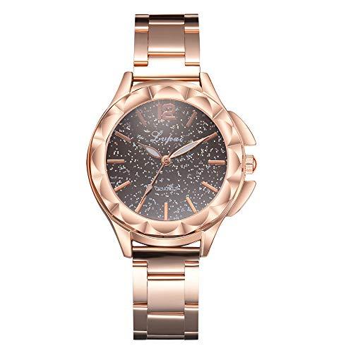 Easytoy Hot Sale Classic Women's Elegant Casual Quartz Rose Gold Alloy Band Watches Analog Wrist Watch (Coffee)