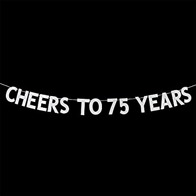 Cheers to 75 Years Banner - Happy 75th Birthday Party Bunting Sign - 75th Wedding Anniversary Decorations Supplies - Silver