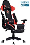 Ficmax PC Computer Gaming Chair High-Back Home Office Chair Ergonomic Office Desk Chair Racing Style Computer Chair Massage Lumbar Support Footrest(Red/White)
