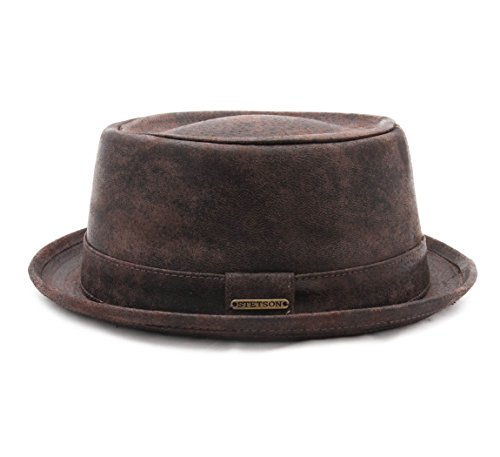Stetson Pork Pie Pig Skin Leather Pork Pie Hat Size M at Amazon Men s  Clothing store  be495ec2711