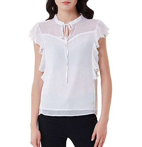 GRACE KARIN Women Casual Party Ruffle Chiffon Shirts Sleeveless Tops Henley White (Chiffon Ruffle Sleeveless)