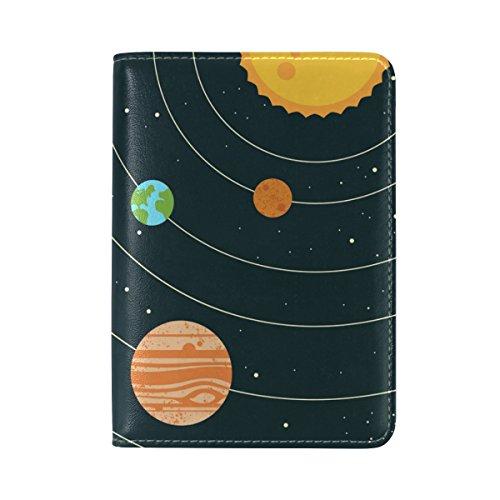 COOSUN Solar System Universe Leder Reisepasshülle für Travel One Pocket