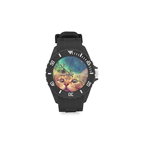 Special Design Cool Star Galaxy Outer Space Cat Design Custom Kids' Round Rubber Sport Watch by Space Cat Watch