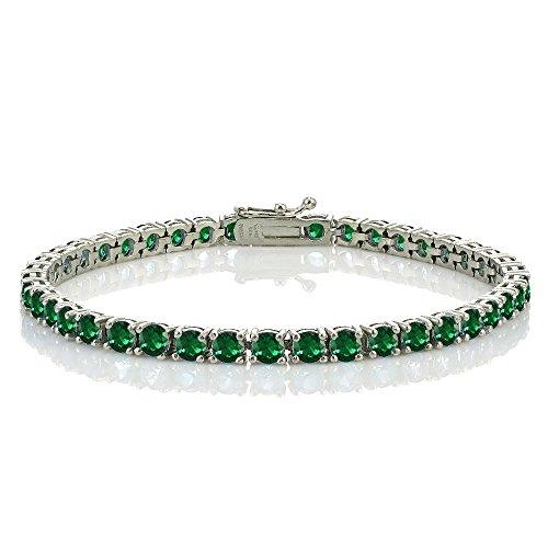 Ice Gems Sterling Silver Created Emerald 4mm Round Tennis Bracelet