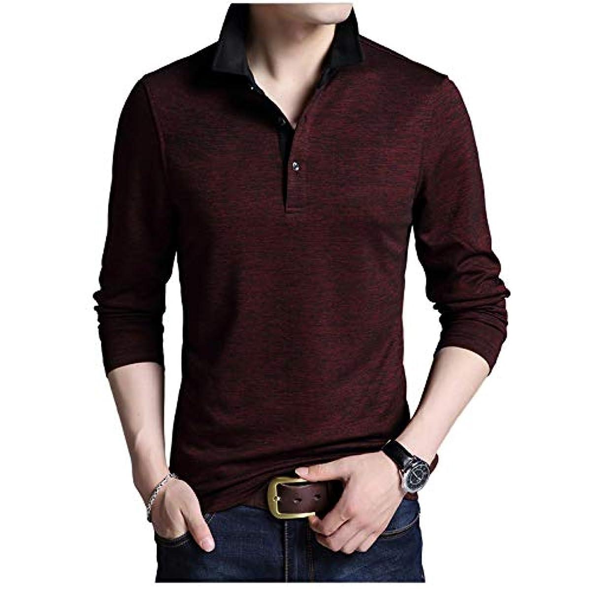 [해외] [LIMORE(re 모어)] 금부착 폴로 셔츠 심플 디자인 버튼 롱 T셔츠 어른 스타일 긴 소매 캐주얼 맨즈
