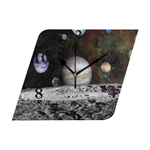 NMCEO Rhombus Wall Clock The New Solar System Acrylic Silent Non-Ticking for Home Decor Creative by NMCEO