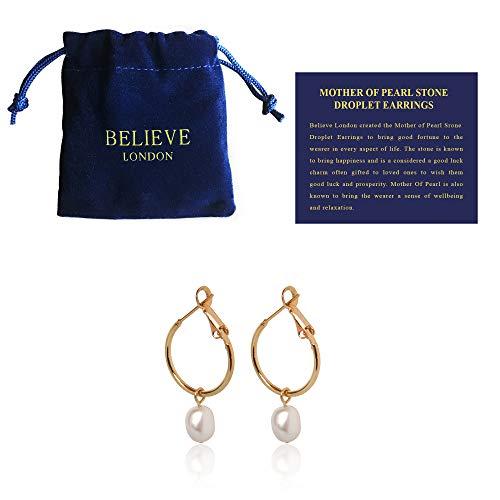 Bl Pearl Hoop Earrings (Pearl Drop Hoop) -