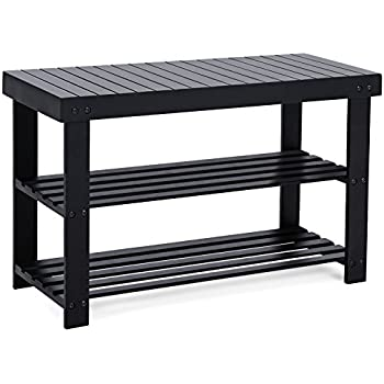 songmics entryway bamboo shoe bench 2tier shoe rack organizer black ulbs04h