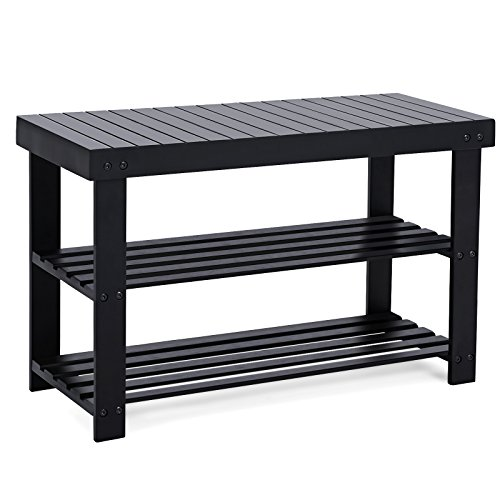 SONGMICS Black Shoe Rack Bench, 3-Tier Bamboo Shoe Organizer, Storage Shelf, Holds Up to 264 Lb, Ideal for Entryway Hallway Bathroom Living Room and Corridor ULBS04H ()