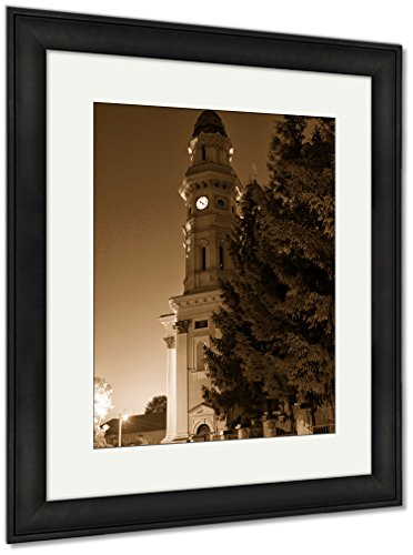 Ashley Framed Prints Catholic Church In Uzhhorod City, Wall Art Home Decoration, Sepia, 30x26 (frame size), Black Frame, AG6221818 by Ashley Framed Prints