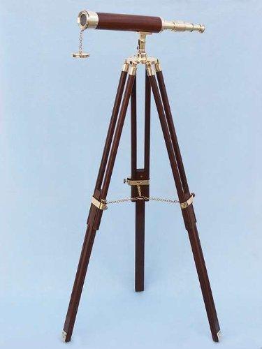 Hampton Nautical  Floor Standing Brass/Wood Harbor Master Telescope, 50'', Brass by Hampton Nautical (Image #2)