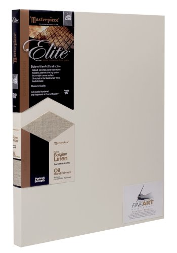 "Masterpiece Artist Canvas 35429 Elite 1-1/2"" Deep, 24"" x 30"", Portrait Smooth Oil Primed Belgian Linen"