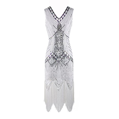 Women Tassel Prom Dress Handmade Beaded Sequin Sleeveless V Neck Slim Evening Dresses (White, XL)