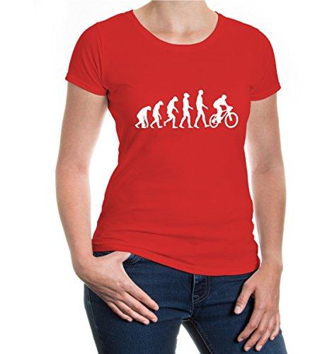 buXsbaum® Girlie T-Shirt The Evolution of biking Red