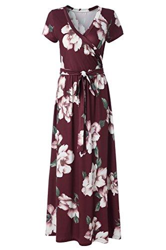 Kranda Womens Summer Vintage Floral Print Short Sleeve Maxi Long Dress Wine Red