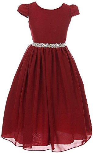 iGirldress Girls Short Sleeve Chiffon Jeweled Belt Holiday Party Flower Girl Dress Burgundy Size 12 ()