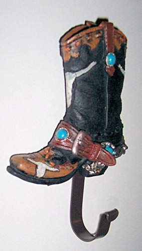 dist by Classyjacs Heavy Resin Plastic Decorative Cowboy Boot Wall Hook, Hook is Flat Metal On The Boot Bottom - Use in Office, Home, Ranch & Etc, Dark Brown, Accented with Steer Head & Spur Cowboy Boot Wall Hook