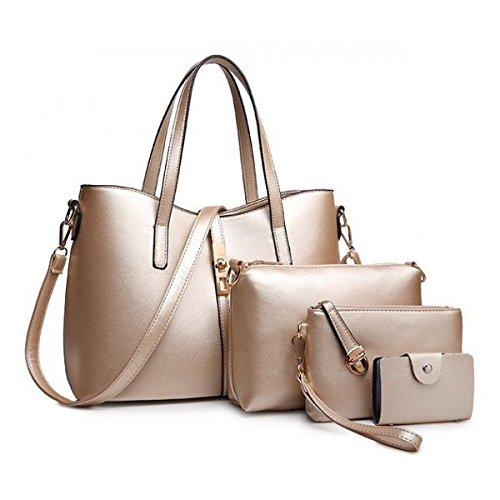2c4b16a828 Vezela 4 Pieces Pu Leather Shoulder Bags For Women - Top Handle Cross  Satchel Handbag Combo Set (Golden): Amazon.in: Shoes & Handbags