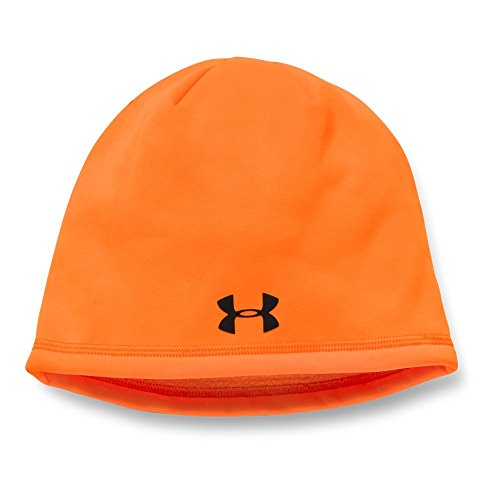 Under Armour Men's Camo Outdoor Fleece Beanie, Blaze Orange (825)/Black, One Size