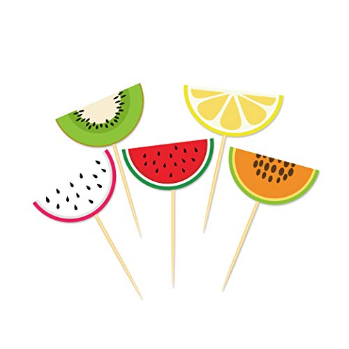 CC HOME 20 Pieces luau Hawaiian Party Centerpiece Sticks - Table Toppers -Summer Tropical Tutti Frutti Cupcake Toppers Cocktail Picks Watermelon Cake Decorations for Luau Hawaii Birthday Wedding Beach Pool Party Supplies Favor