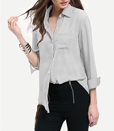Manches Longues Boutonn Poche Chemise avec Gris Mousseline T Top Femme Shirt TFU74W7Z