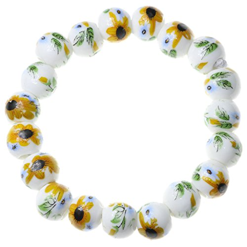 Oasis Plus Handmade 10mm Porcelain Sunflowers Buddhist Mala Prayer Beads Strand Beaded Bracelet for Girls Womens
