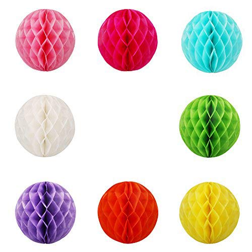 AMAZECO Paper Lanterns Pom Poms and Honeycomb Ball for Wedding Birthday Party Decoration,Pack of 8 ()