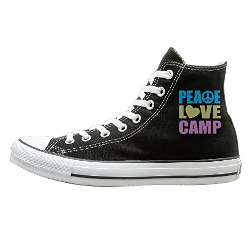 SH-rong Peace Love Camp High Top Sneakers Canvas Shoes Slip On Sneaker Unisex Style Size - Cabela's Sunglasses