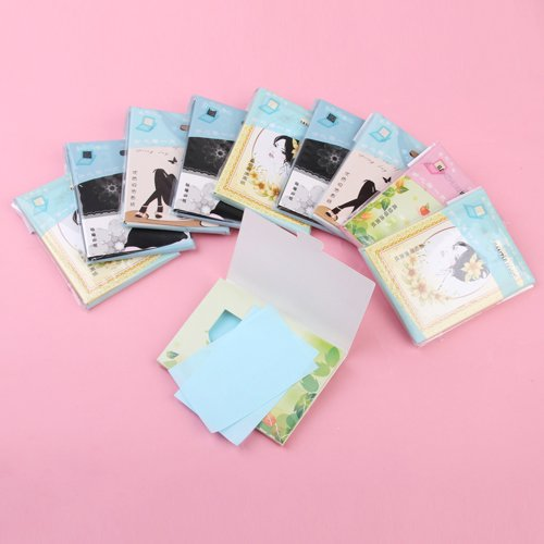 10 Packs of Facial Blotting Papers Skin Oil Control Random Color Generic