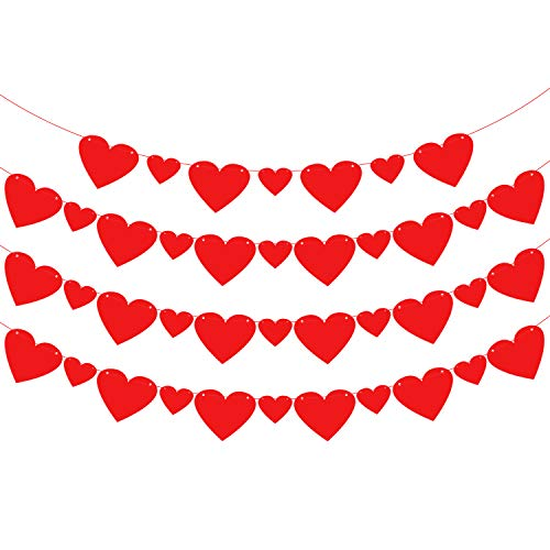 KatchOn Felt Heart Garland Banner Decorations – Pack of 40, Pre-Strung | Big and Small Red Paper Felt Garland | Great for Valentines Day Décor Supplies, Anniversary Backdrop and Wedding | 4 Strings
