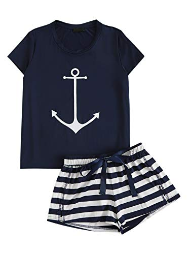 - DIDK Women's Anchor Print Tee and Striped Shorts Pajama Set Navy XXL