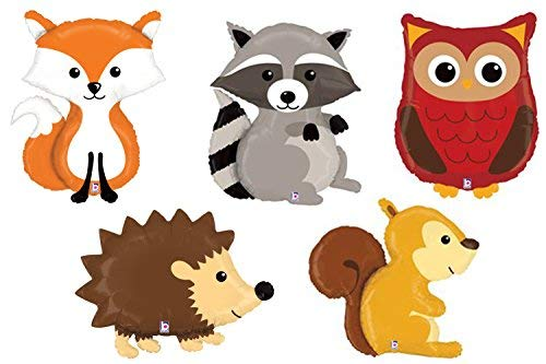 Set of 5 Woodland Animal Foil Mylar Balloons Forest Friends Lovable -