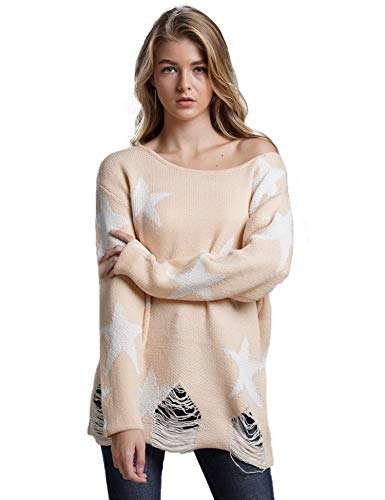 (Relipop Women's Jumper Off Shoulder Long Sleeve Crewneck Stars Graphic Knit Loose Pullover Sweater Beige)