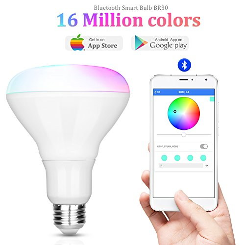 iLintek Smart LED Light Bulb,Multicolored Dimmable,Bluetooth App Group Controlled,Party Disco Color Changing,9W-Equivalent 60w,2700K-6500K Color,No Hub required,Sunrise Wake Up Night Light(BR30)