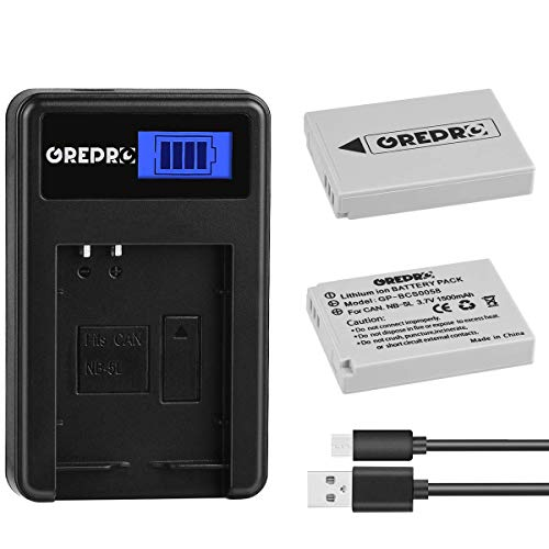 Grepro NB-5L Battery (2 Packs) and Rapid LCD USB Charger Kit for Canon NB-5L and Powershot S100 S110 SX230 HS SX210 is SD790 is SX200 is SX220 is SD800 is SD850 is SD870 is SD700 is SD880 is SD950 is ()