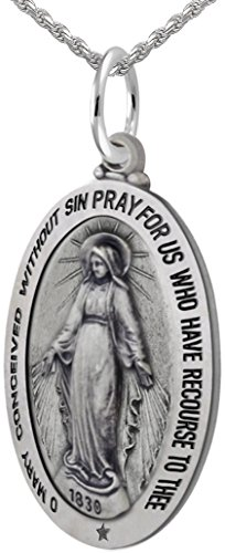 New 0.925 Sterling Silver 1.375'' Oval Miraculous Virgin Mary Antique Finish Pendant 3.3mm Rope Necklace, 24'' by US Jewels And Gems