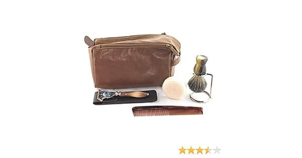 43280546181e GBS Men's Deluxe Travel Doppler Grooming Beard and Wet Shaving Set - Horn  Edition - Pure Badger Shaving Brush, Stand, Fusion Razor with Case, Travel  ...
