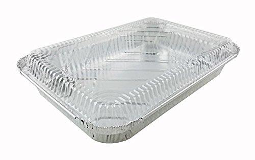 (Handi-Foil 4 lb. Oblong Aluminum Entrée Take-Out Pan w/Clear Dome Lid 50 Sets )