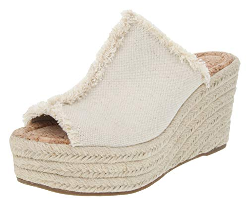 Slingback Espadrille Wedge - Sugar Women's Hosta Espadrille Slingback Wedge Sandal with Buckle 9 Natural