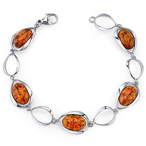 Baltic Amber Bracelet Sterling Silver Cognac Color Oval Shape