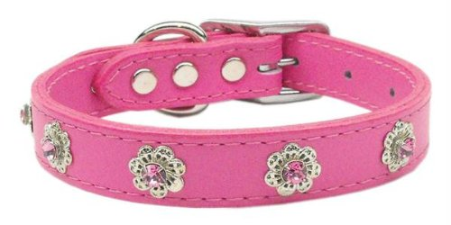 Jewel Flower Leather Dog Collar Pink 22