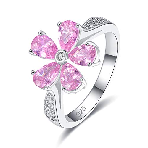 Humasol 925 Sterling Silver Filled Cubic Zirconia Pink Topaz Promise Proposal Sun Flower Rings for Women Girl Size - Emerald 7x5 Sterling